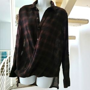 Blank NYC Plaid Brown and Red Buttondown Shirt S